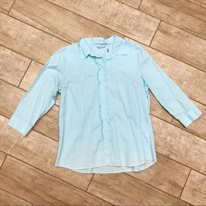 Izod Sky Blue Daisy Print 3/4 Sleeve Button Down